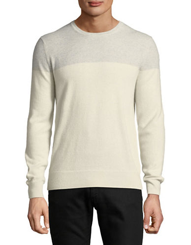 Black Brown 1826 Two Tone Cashmere Sweater-GREY-Large