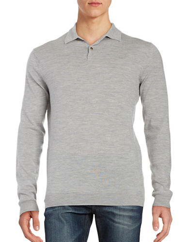 Black Brown 1826 Merino Wool Long Sleeve Polo Shirt-MEDIUM GREY-XX-Large