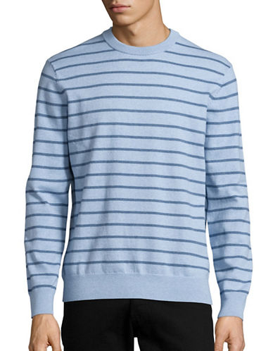 Black Brown 1826 Heathered Stripe Sweater-BLUE-XX-Large