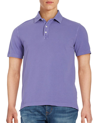 Black Brown 1826 Textured Cotton Polo-PURPLE-Small