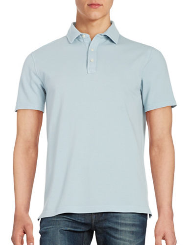 Black Brown 1826 Textured Cotton Polo-BLUE-Large