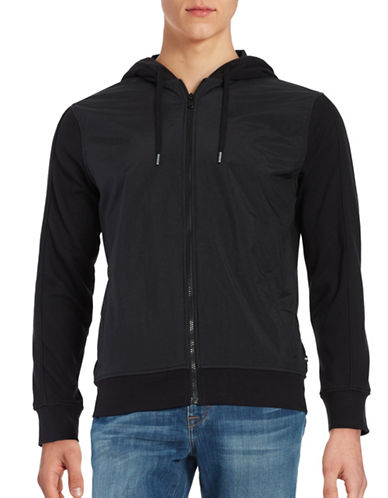 Black Brown 1826 Nylon-Front Full-Zip Hoodie-BLACK-X-Large 88766227_BLACK_X-Large