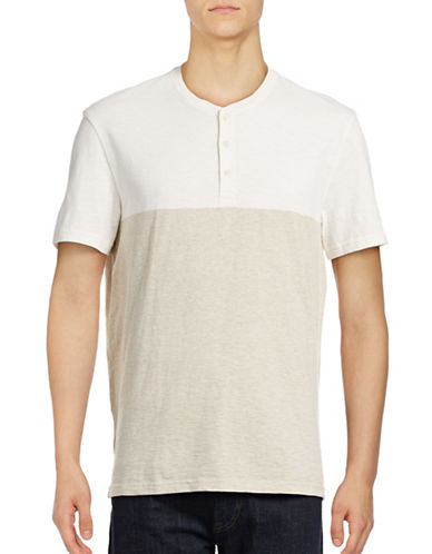 Black Brown 1826 Colourblock Short-Sleeve Henley-WHITE-Large