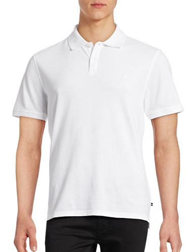 Black Brown 1826 Short Sleeve Solid Pique Core Polo-WHITE-Large
