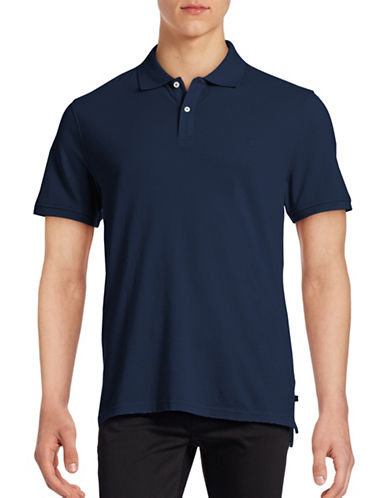 Black Brown 1826 Short Sleeve Solid Pique Core Polo-INDIGO-Small