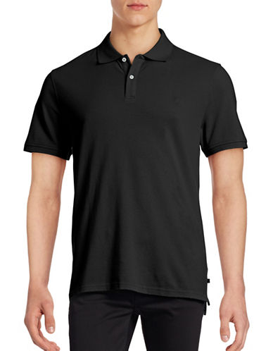 Black Brown 1826 Short Sleeve Solid Pique Core Polo-BLACK-Small