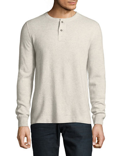 Black Brown 1826 Long Sleeve Cashmere Henley Top-GREY-X-Large