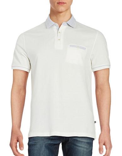 Black Brown 1826 Contrast Cotton Polo-BONE WHITE-XXX-Large