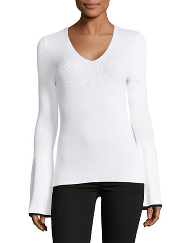 Lord & Taylor V-Neck Ribbed Long-Sleeve Top-CLOUD WHITE-X-Large