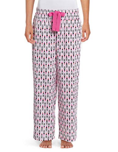 Lord & Taylor Printed Woven Sleep Pants-PINK MULTI-Small
