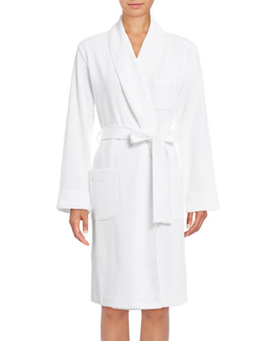 Lord & Taylor Waffle-Knit Robe-WHITE-X-Large