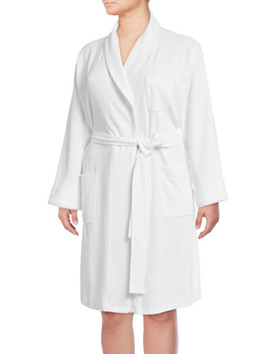 Lord & Taylor Plus Cotton-Blend Robe-WHITE-1X