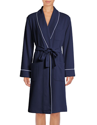 Lord & Taylor Waffle-Knit Robe-NAVY-Medium
