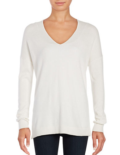 Lord & Taylor Mini Cable Knit Top-WHITE-Large