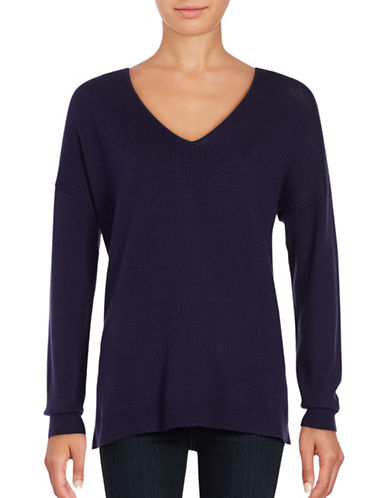 Lord & Taylor Mini Cable Knit Top-EVENING BLUE-Large