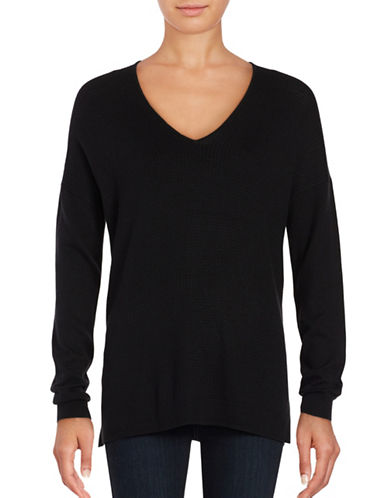 Lord & Taylor Mini Cable Knit Top-BLACK-Small