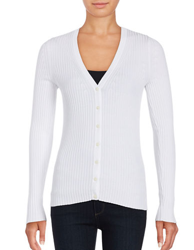 Lord & Taylor Long Sleeve V-Neck Ribbed Cardigan-WHITE-X-Large
