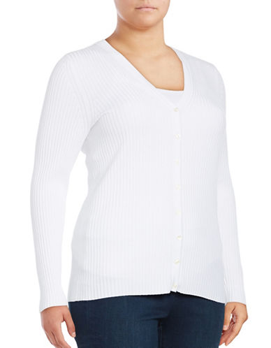 Lord & Taylor Plus Ribbed V-Neck Cardigan-WHITE-0X