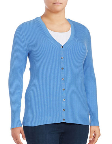 Lord & Taylor Plus Ribbed V-Neck Cardigan-LIGHT PERI-2X