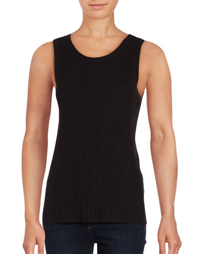 Lord & Taylor Petite Ribbed Sleeveless Top-BLACK-Petite Large