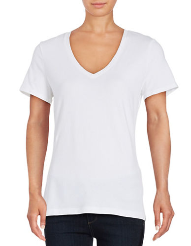 Lord & Taylor Stretch Cotton V-Neck Tee-WHITE-X-Small 88779839_WHITE_X-Small