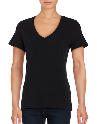 Lord & Taylor Stretch Cotton V-Neck Tee-BLACK-X-Small 88779834_BLACK_X-Small