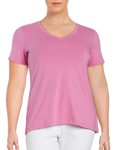 Lord & Taylor Plus Solid V-Neck T-Shirt-BERRY PINK-1X