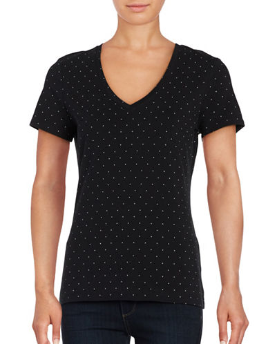 Lord & Taylor Plus V-Neck Dot-Print Cotton-Blend Tee-BLACK-1X