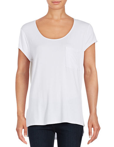 Lord & Taylor Solid Pocket Tee-CLOUD WHITE-X-Small