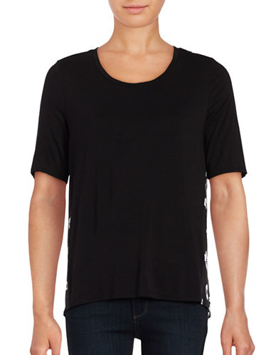 Lord & Taylor Wild Flowers Top-BLACK-X-Small