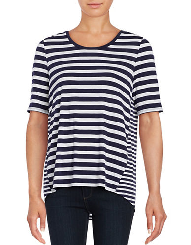 Lord & Taylor Petite Striped High-Low Tee-EVENING BLUE-Petite Small