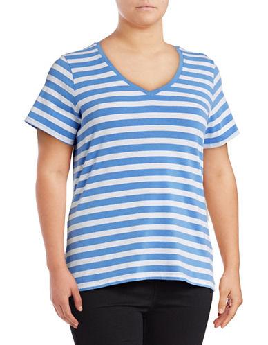 Lord & Taylor Plus Striped V-Neck T-Shirt-LIGHT PERI-1X