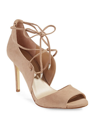 424 Fifth Gessa Lace-Up Suede Pumps-BEIGE-5.5