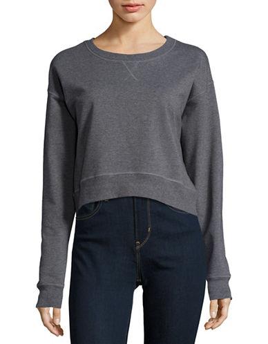 Highline Collective Cropped Cotton-Blend Sweatshirt-GREY-Large 88616424_GREY_Large