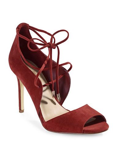 424 Fifth Gessa Lace-Up Suede Pumps-RED-10
