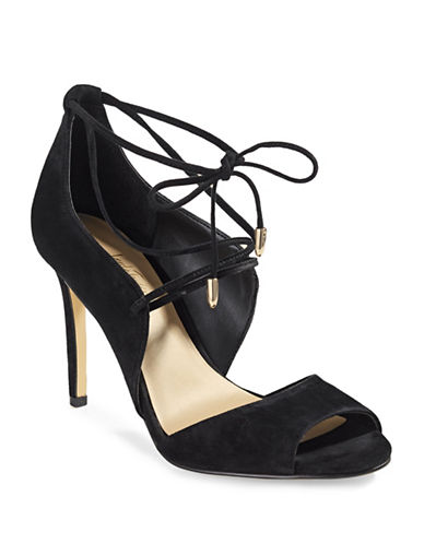 424 Fifth Gessa Lace-Up Suede Pumps-BLACK-9.5