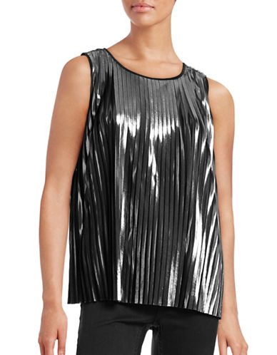 Imnyc Isaac Mizrahi Pleated Metallic Tank-BLACK-X-Small 88666318_BLACK_X-Small