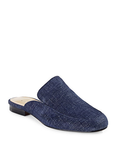 424 Fifth Gigi Chambray Leather Slippers-BLUE-9