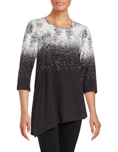 H Halston Printed Asymmetrical Top-BLACK-Medium 88712024_BLACK_Medium