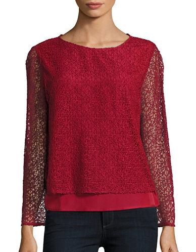 H Halston Open-Knit Overlay Top-RED-Medium 88755886_RED_Medium