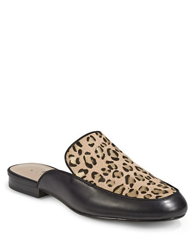 424 Fifth Gigi Leather Slides with Calf Hair-LEOPARD-10