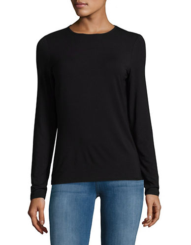 Lord & Taylor Basic Long Sleeve Shirt-BLACK-Large