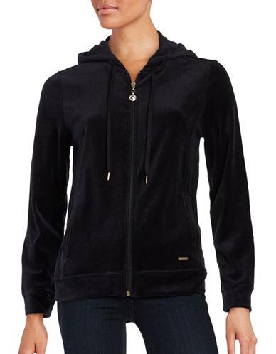 Imnyc Isaac Mizrahi Velour Zip-Up Hoodie-BLACK-Small 88650210_BLACK_Small