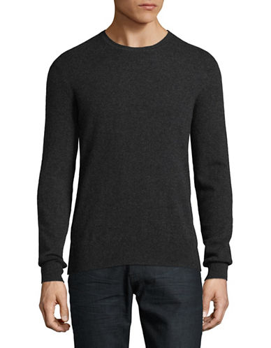 Black Brown 1826 Cashmere Crew Neck Sweater-CHARCOAL-Large