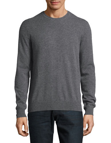 Black Brown 1826 Cashmere Crew Neck Sweater-STONE GREY-Small