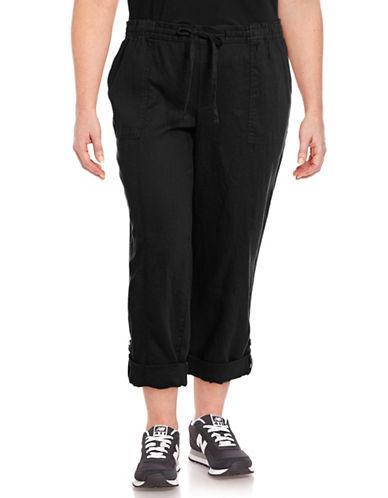 Lord & Taylor Petite Roll-Up Linen Pants-BLACK-Petite Medium