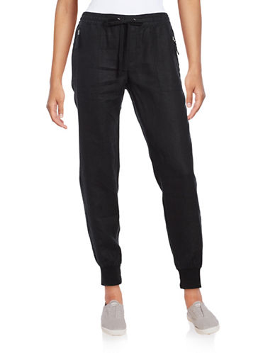 Lord & Taylor Solid Straight Leg Jogger Pants-BLACK-Medium 88861694_BLACK_Medium