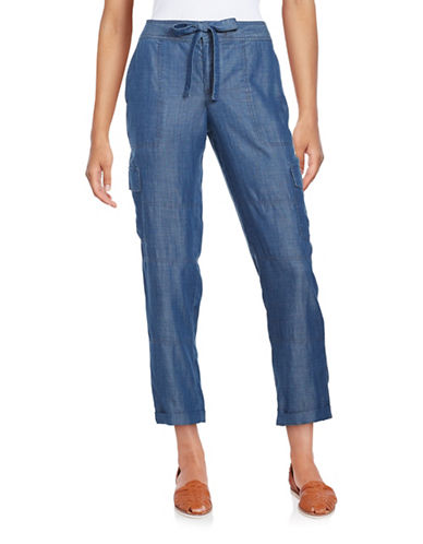 Lord & Taylor Solid Cargo Pants-BLUE-X-Large 88881805_BLUE_X-Large