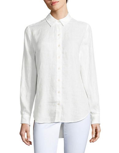 Lord & Taylor Linen Blouse-WHITE-Medium