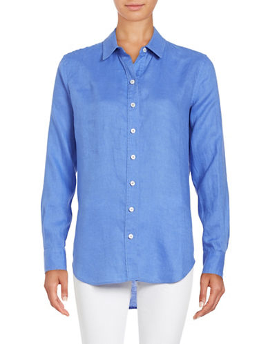 Lord & Taylor Linen Blouse-BLUE-X-Small